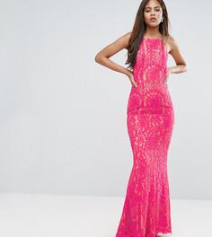 Кружевное платье макси с высоким воротом Jarlo Tall - Розовый