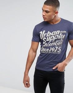 Узкая футболка с графическим принтом Solid - Темно-синий