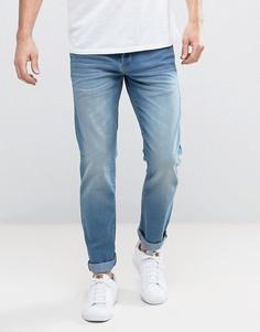 Светло-синие эластичные джинсы прямого кроя Solid - Синий
