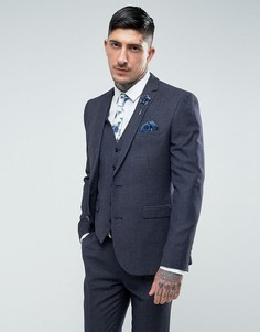 Синий приталенный пиджак с геометрическим принтом Harry Brown - Синий