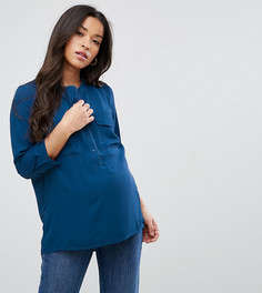 Блузка на пуговицах Mamalicious - Синий Mama.Licious