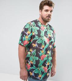 Удлиненная футболка из имитирующей лен ткани с цветочным принтом ASOS PLUS - Черный