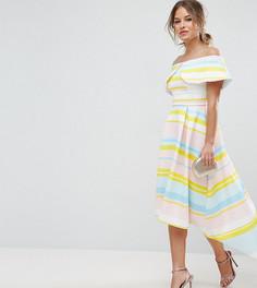 Платье в яркую полоску с широким отворотом ASOS PETITE - Мульти