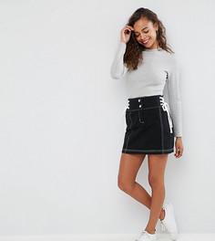 Мини-юбка со шнуровкой по бокам ASOS PETITE - Черный