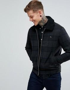 Серая куртка в клетку с воротником борг Farah Otley - Серый