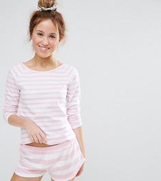 Пижамный комплект с шортами и футболкой в полоску ASOS PETITE - Розовый