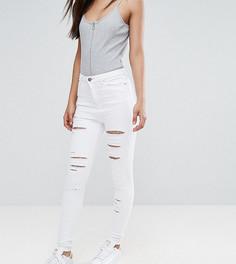 Белые джинсы скинни с завышенной талией и прорехами ASOS TALL RIDLEY - Белый