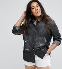 Джинсовая рубашка с нашивками Junarose - Серый