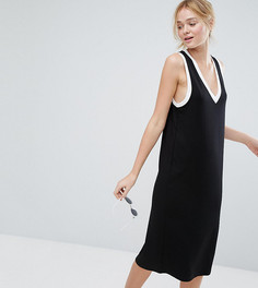 Платье миди с V-образным вырезом и контрастной отделкой Monki - Черный