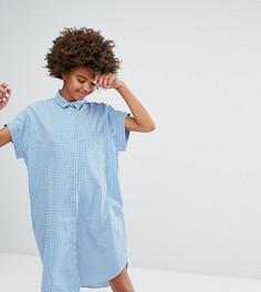 Платье-рубашка в клеточку с короткими рукавами Monki - Синий