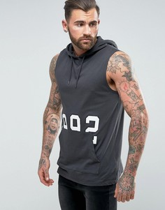 Длинная футболка без рукавов с капюшоном и накладным карманом ASOS - Черный
