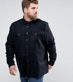 Рубашка навыпуск с кнопками из ткани с добавлением льна ASOS PLUS - Черный