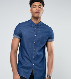 Темная выбеленная джинсовая рубашка с коротким рукавом Burton Menswear TALL - Темно-синий