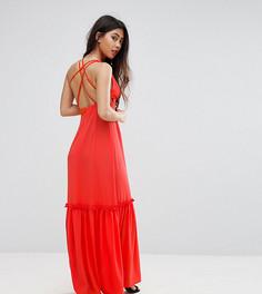 Платье макси с перекрестной отделкой на спине Boohoo Petite - Оранжевый