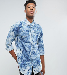Выбеленная джинсовая рубашка классического кроя ASOS TALL - Синий