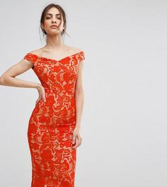 Кружевное платье-футляр миди с открытыми плечами Boohoo - Красный