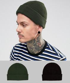 2 шапки-бини в рыбацком стиле (черная и хаки) ASOS - СКИДКА - Мульти