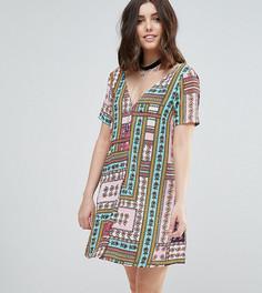 Чайное платье на пуговицах с ярким лоскутным принтом Glamorous Petite - Мульти