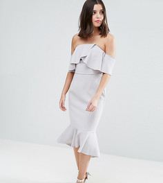 Платье-бандо миди с крупными оборками True Decadence Petite - Серый