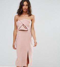 Платье-бандо миди с большим бантом True Decadence Petite - Розовый