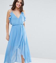 Платье на тонких бретельках с запахом и оборками True Decadence Petite - Синий