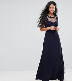 Платье макси с кружевной вставкой Little Mistress Petite - Темно-синий