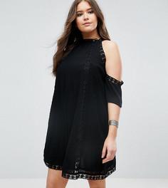 Кружевное платье с открытыми плечами Boohoo Plus - Черный