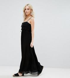 Платье макси с отделкой кроше Boohoo Petite - Черный