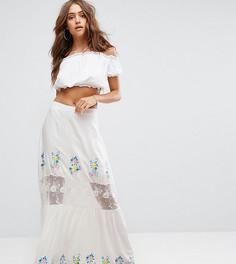 Ярусная юбка макси с кружевной вставкой Boohoo - Белый