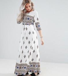 Платье макси с принтом Boohoo Petite - Белый