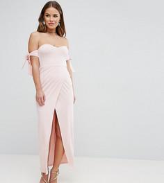 Платье макси с открытыми плечами, запахом и бантиками ASOS PETITE - Розовый