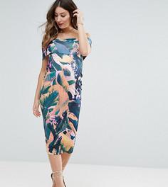 Облегающее платье миди с открытыми плечами и тропическим принтом ASOS Maternity - Мульти