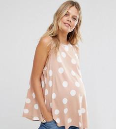 Свободный топ в горошек без рукавов ASOS Maternity PETITE - Розовый