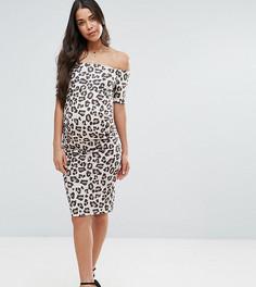 Платье со спущенными плечами и леопардовым принтом ASOS Maternity - Мульти