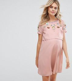 Двухслойное платье с цветочной отделкой ASOS Maternity NURSING - Розовый