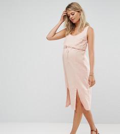 Двухслойное платье миди в стиле casual со шнурком ASOS Maternity NURSING - Розовый