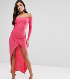 Асимметричное платье макси с запахом на юбке и открытыми плечами Club L - Розовый