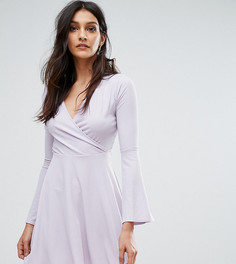 Короткое приталенное платье в рубчик с запахом спереди Club L - Фиолетовый