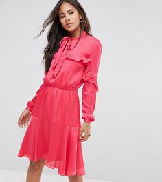 Платье миди с завязкой и оборками Y.A.S Tall - Розовый