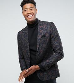 Приталенный пиджак с флоковым цветочным принтом Harry Brown TALL - Черный