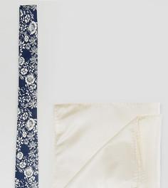 Галстук с цветочным принтом и платок паше в комплекте ASOS - Мульти