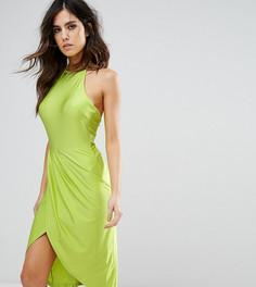 Платье миди с запахом и сборками NaaNaa - Зеленый
