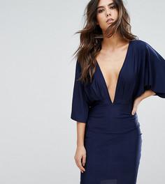 Платье мини с глубоким вырезом и рукавами-кимоно NaaNaa - Темно-синий