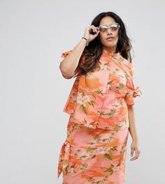 Комбинируемая блузка с гавайским принтом, пуговицами на спине и бантиками ASOS CURVE - Мульти