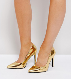 Tуфли для широкой стопы на каблуке с острым носком ASOS PARIS - Золотой