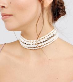 Ожерелье-чокер с искусственным жемчугом и камнями ASOS - Кремовый