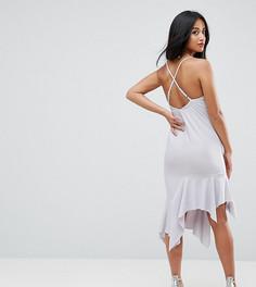 Креповое платье миди с асимметричным краем и перекрестами на спине ASOS PETITE - Фиолетовый