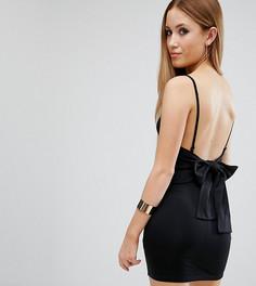 Облегающее платье мини с бантом на спине ASOS PETITE - Черный