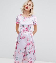 Атласное платье для выпускного с принтом Horrockses - Мульти