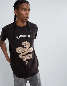 Футболка с вышивкой в виде змеи Maharishi - Черный